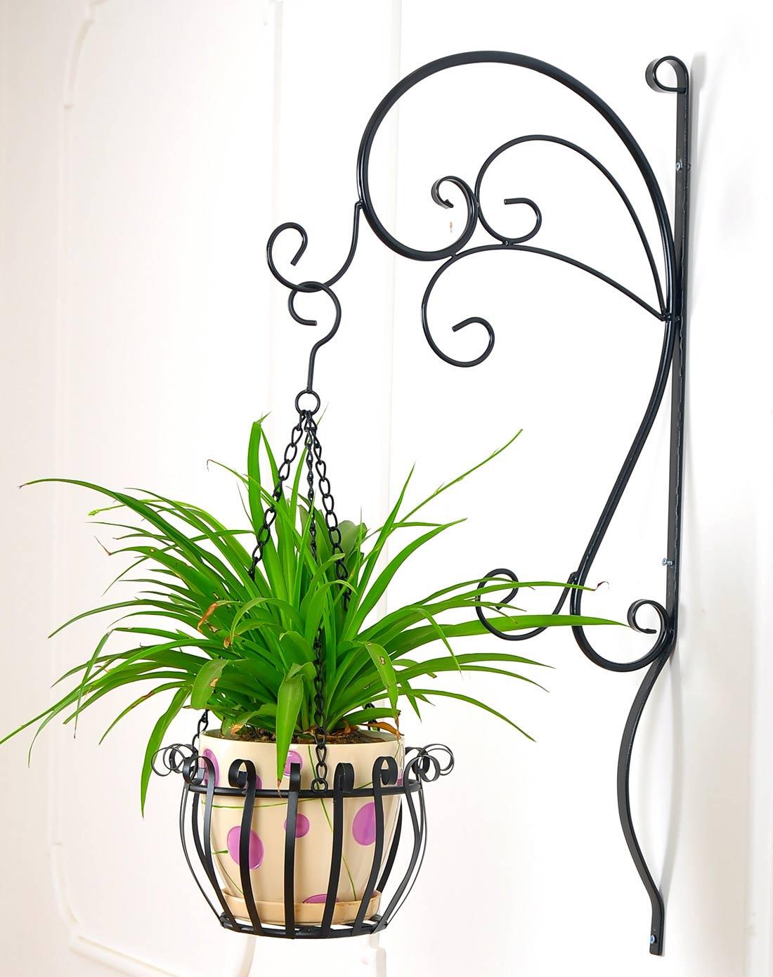 新滢铁艺黑色欧式时尚铁艺吊篮壁挂式花盆架xy1104