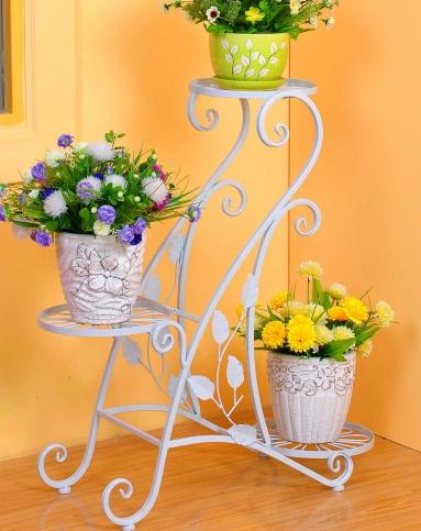 白色欧式铁艺花架s型三层花盆架