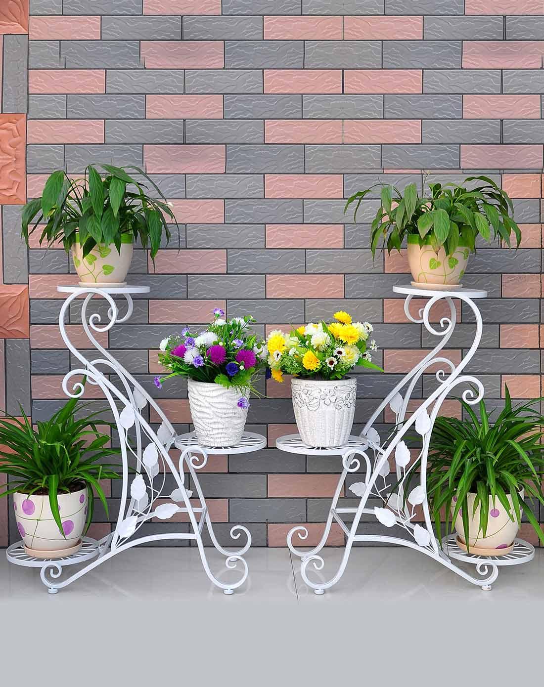 白色欧式铁艺花架s型三层花盆架图片