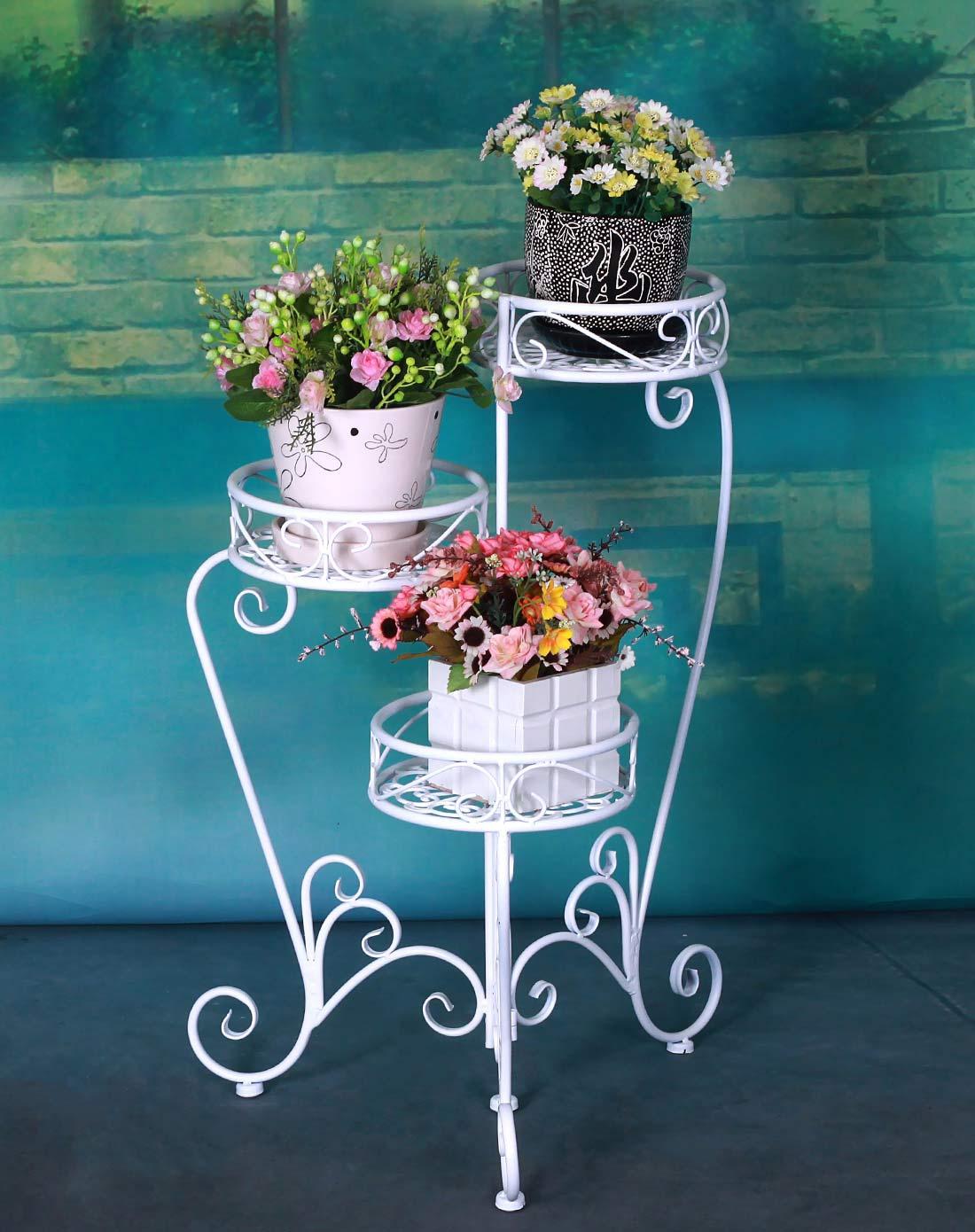 新滢铁艺白色欧式时尚铁艺花架折叠型三层花盆架xy