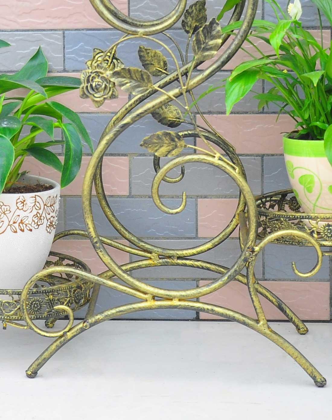 青古铜欧式铁艺花架时尚三层花几
