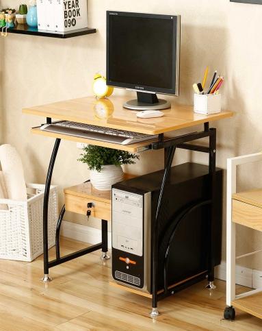 实木色台式电脑桌