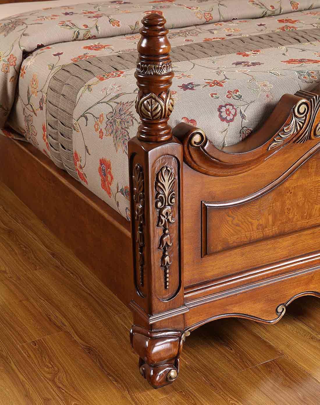 美式实木双人床 1.5米 描银做旧图片