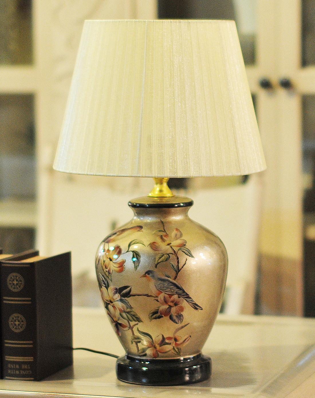 朵兰舍doolans欧式彩绘陶瓷卧室床头台灯金色底款tdd