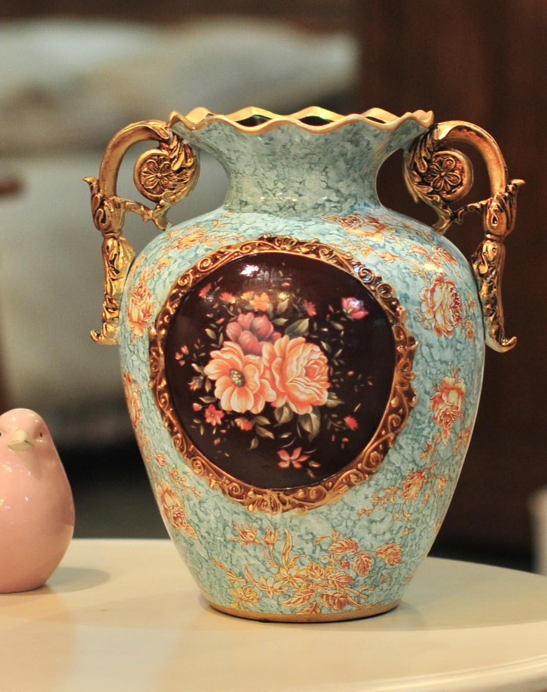 欧式宫廷彩绘陶瓷装饰花瓶图片