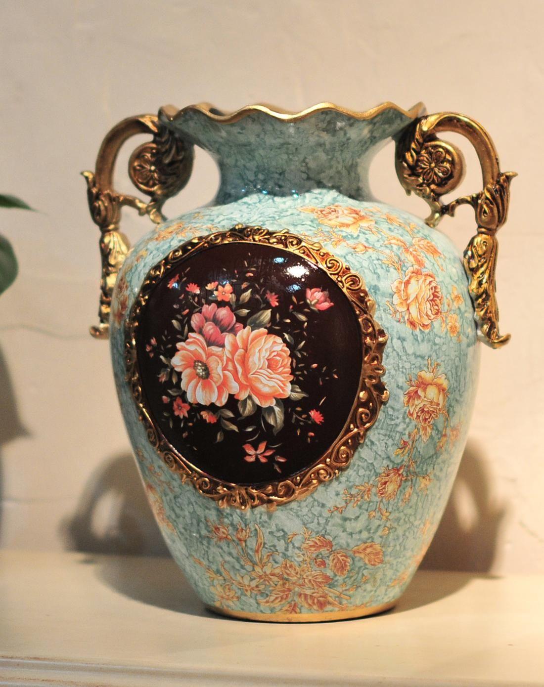 欧式宫廷彩绘陶瓷装饰花瓶