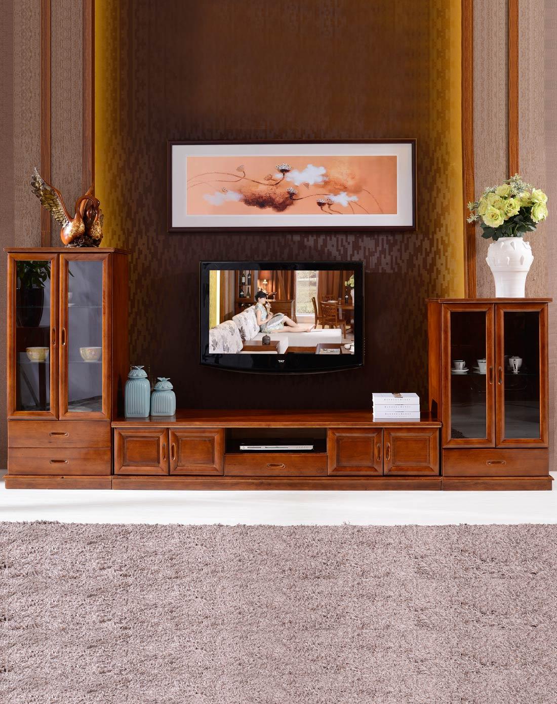 > 实木中式电视柜现代客厅组合电视柜