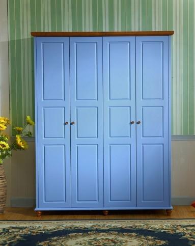 巨宝家具专场美式乡村风格蓝色实木四门衣柜(带暗柜)