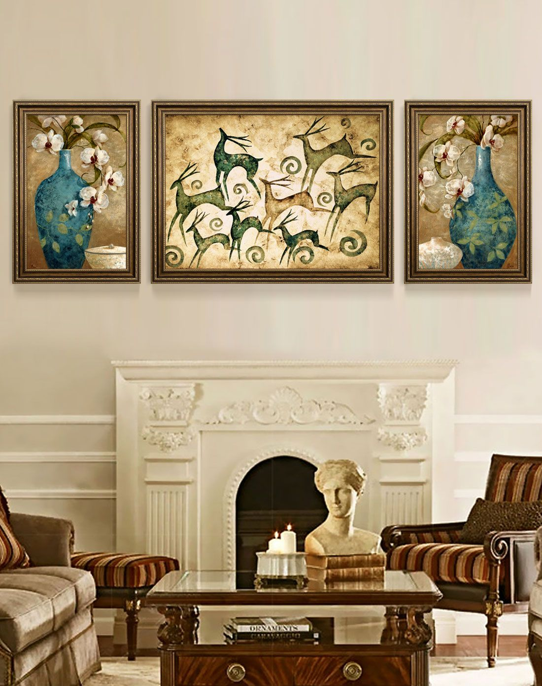 美式客厅高端装饰画 发财鹿