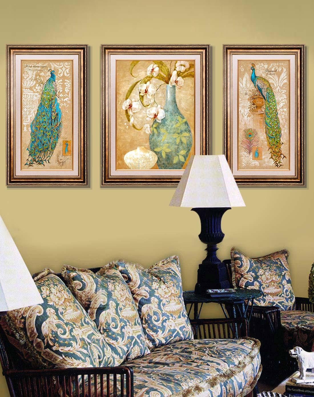 美式客厅高端装饰画 平安孔雀