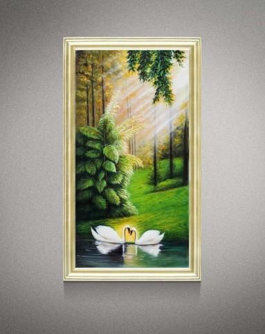 纯手绘山水风景油画 天鹅湖