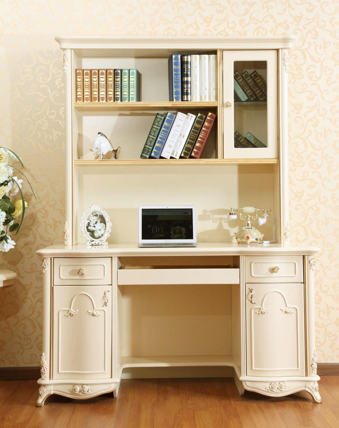 欧式上下书桌书柜(不含椅子) 米黄描金