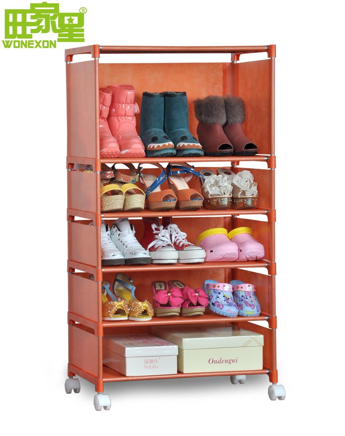 橘红色创意加固移动鞋架/置物架