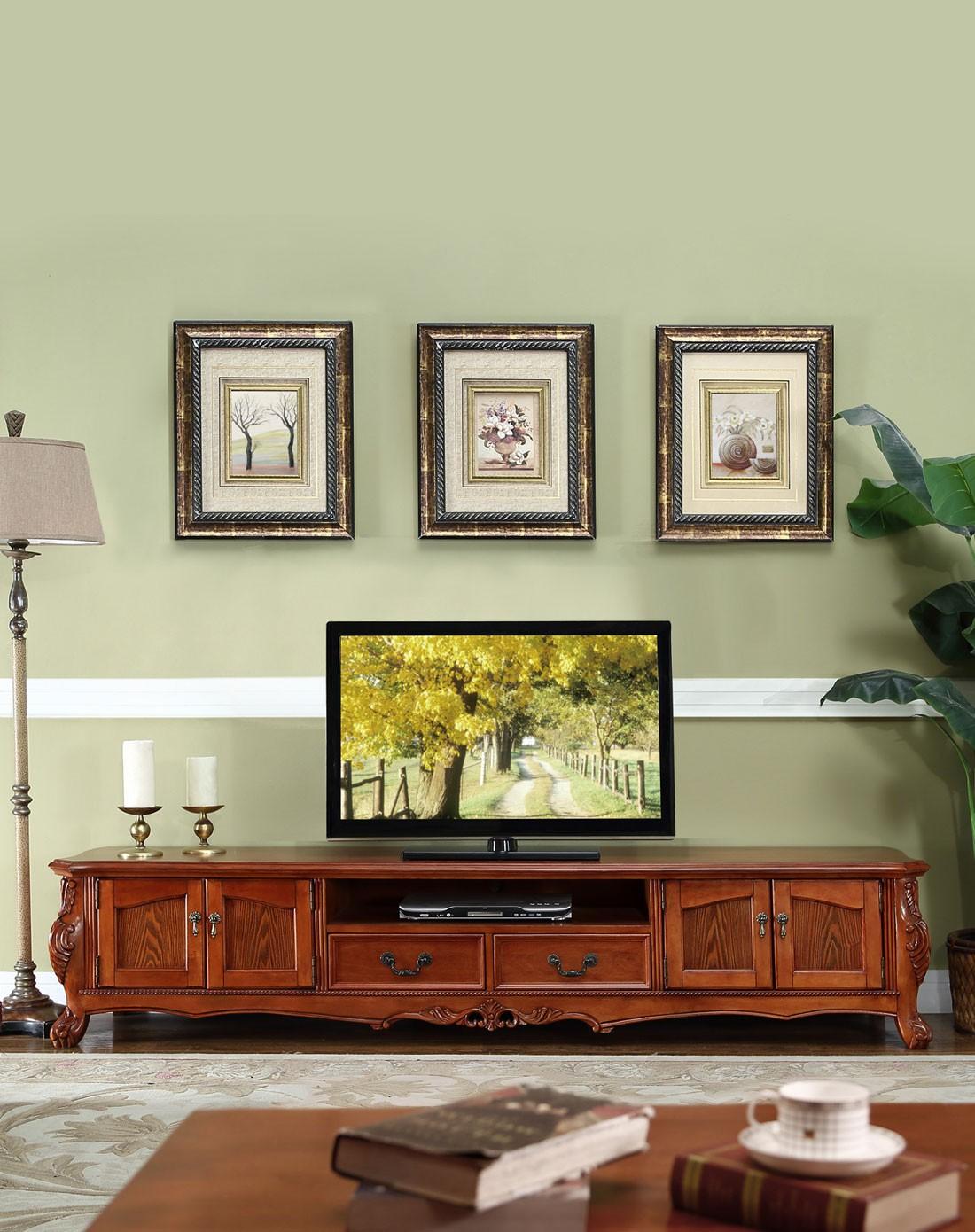 美式复古实木雕花电视柜
