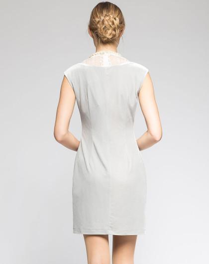 灰色高贵蕾丝钉珠气质无袖连衣裙