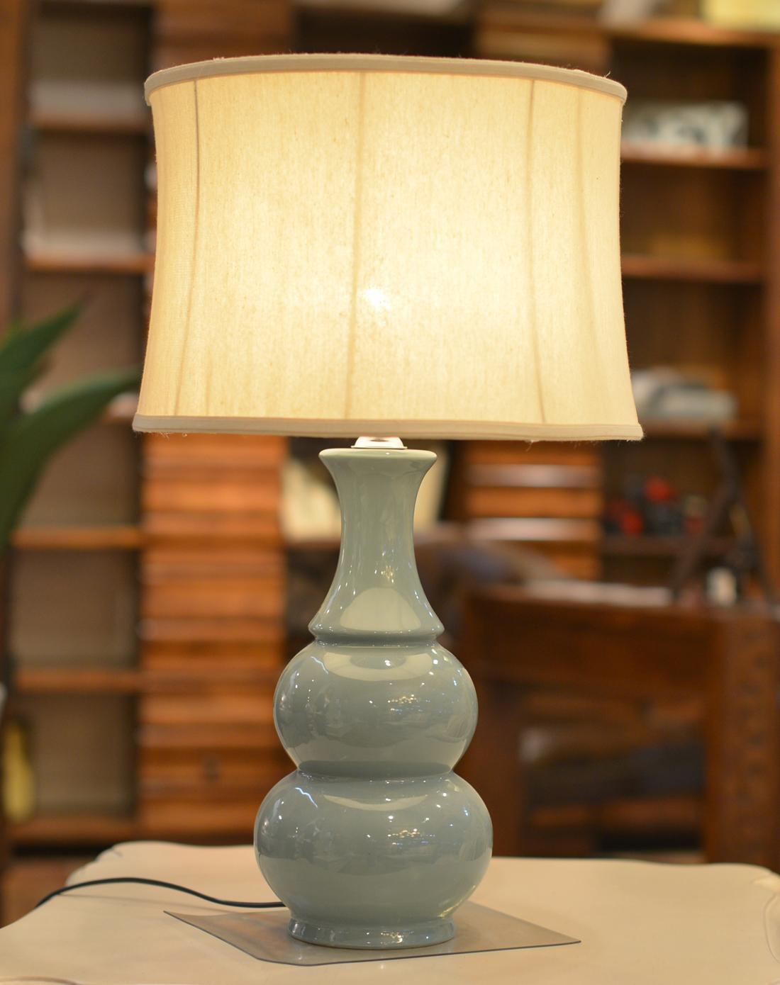 现代卧室床头单色釉葫芦台灯