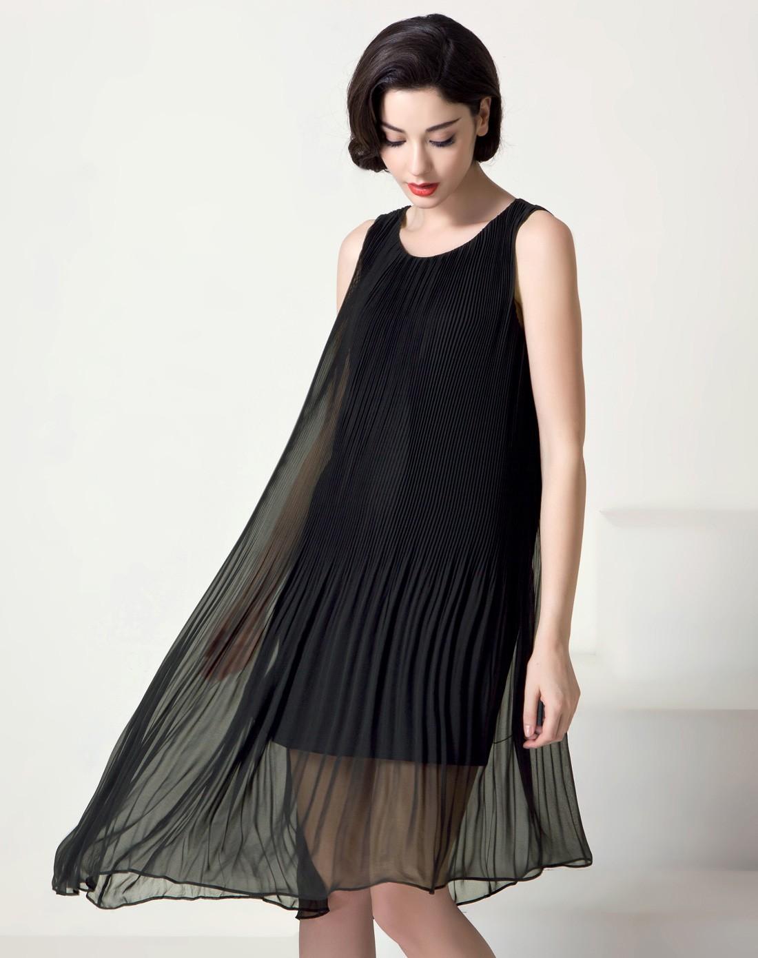 黑色雪纺 裙子-黑色雪纺