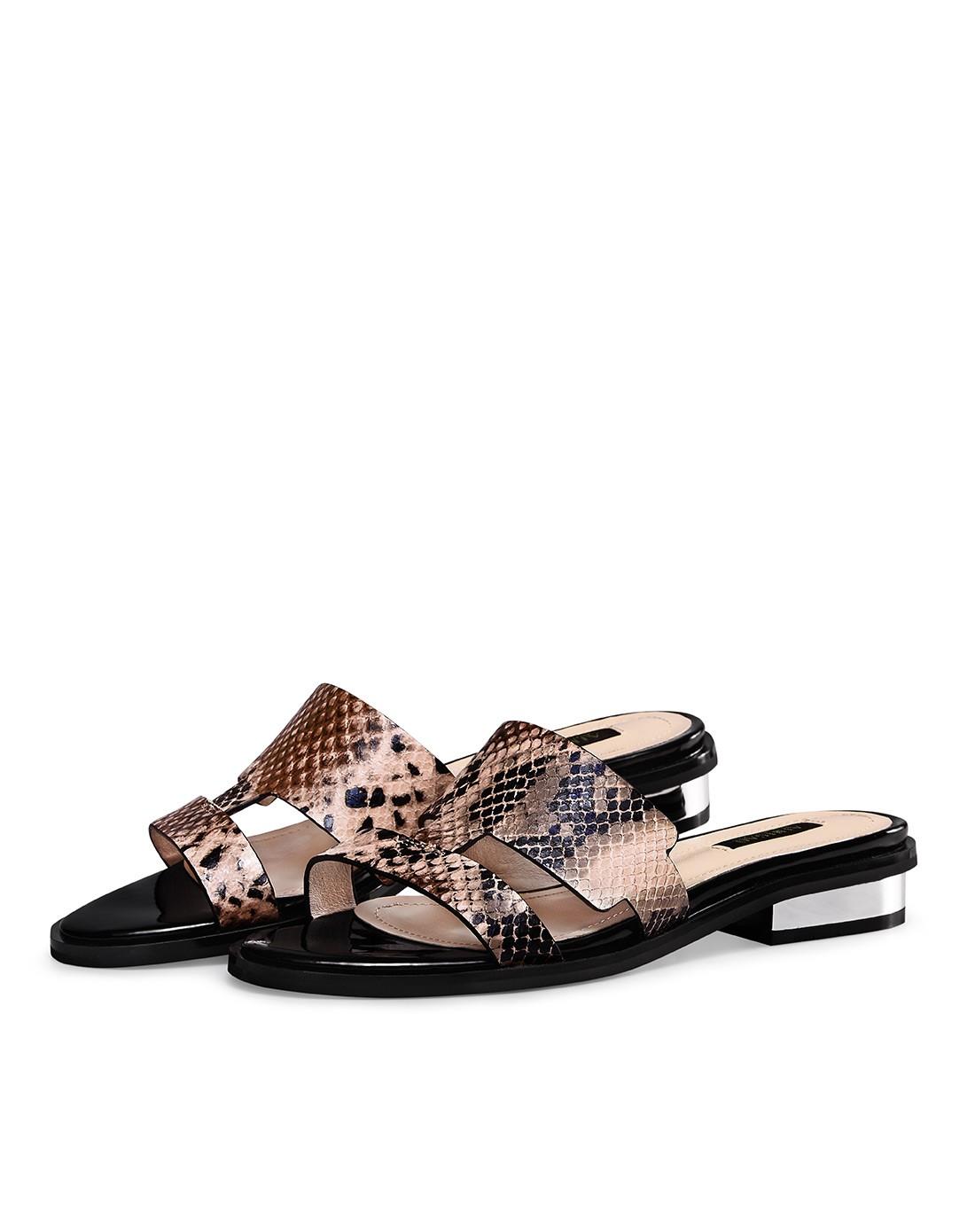 2015新品粉色蛇纹羊皮拖鞋