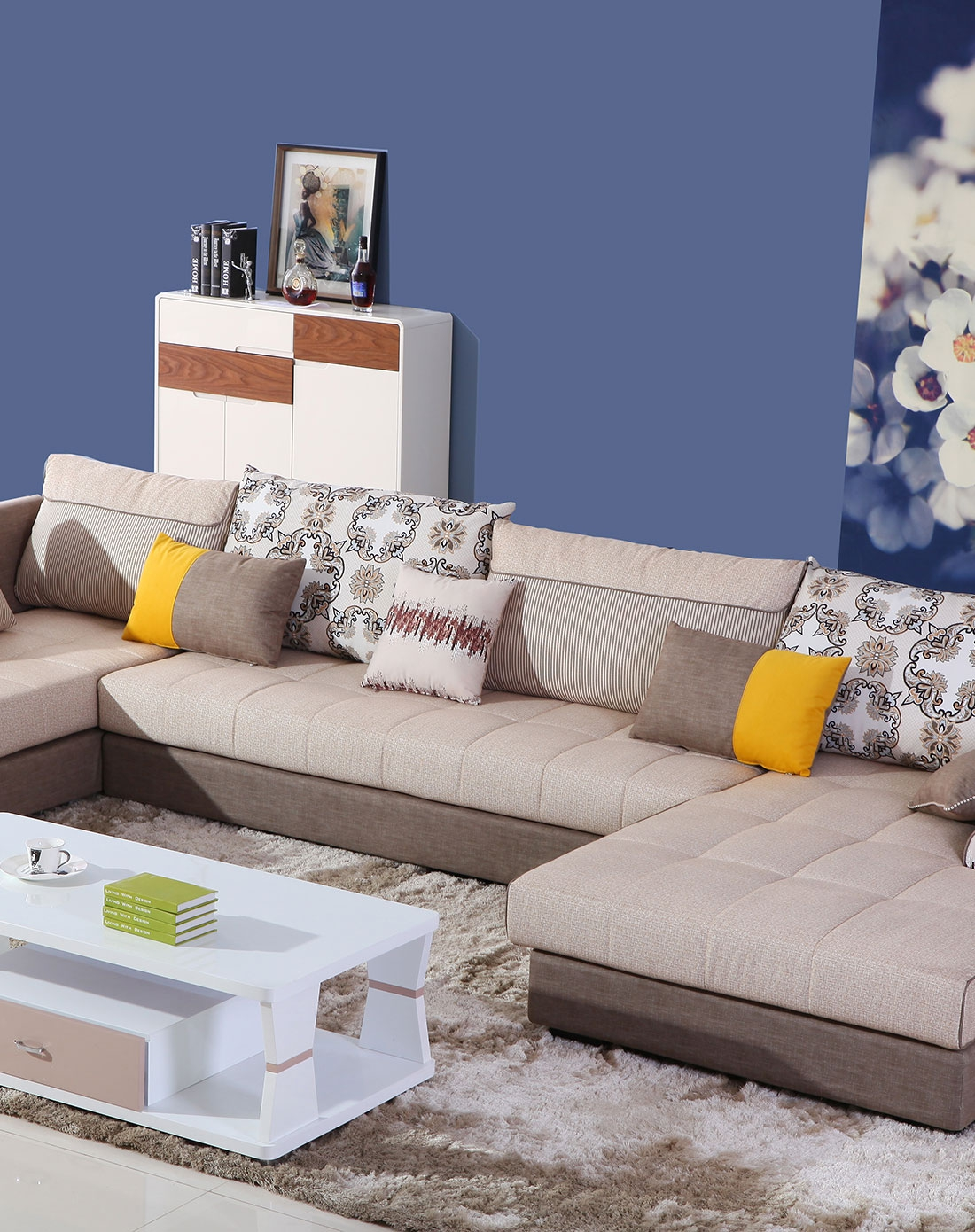 双虎欧式布艺沙发图片