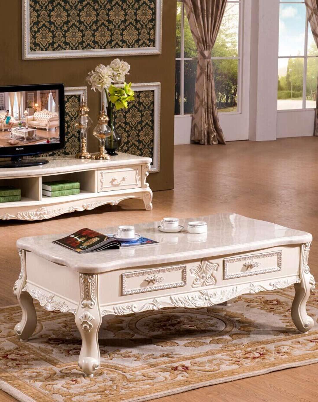 欧式真皮沙发组合 茶几 方几 电视柜