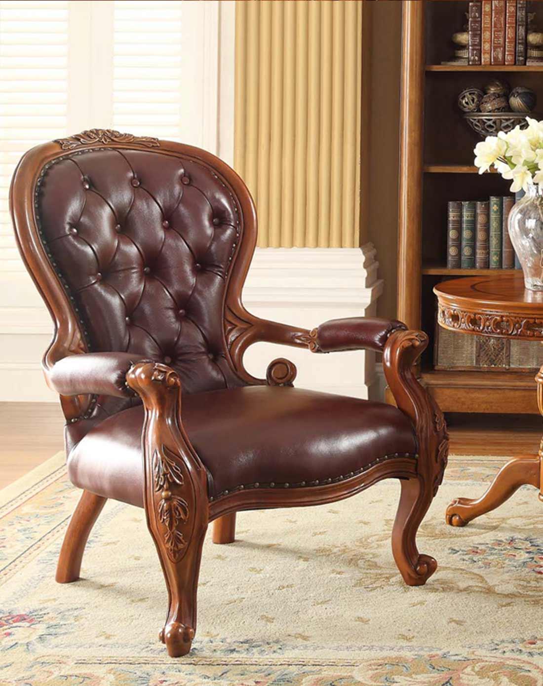 > 美式实木真皮休闲椅