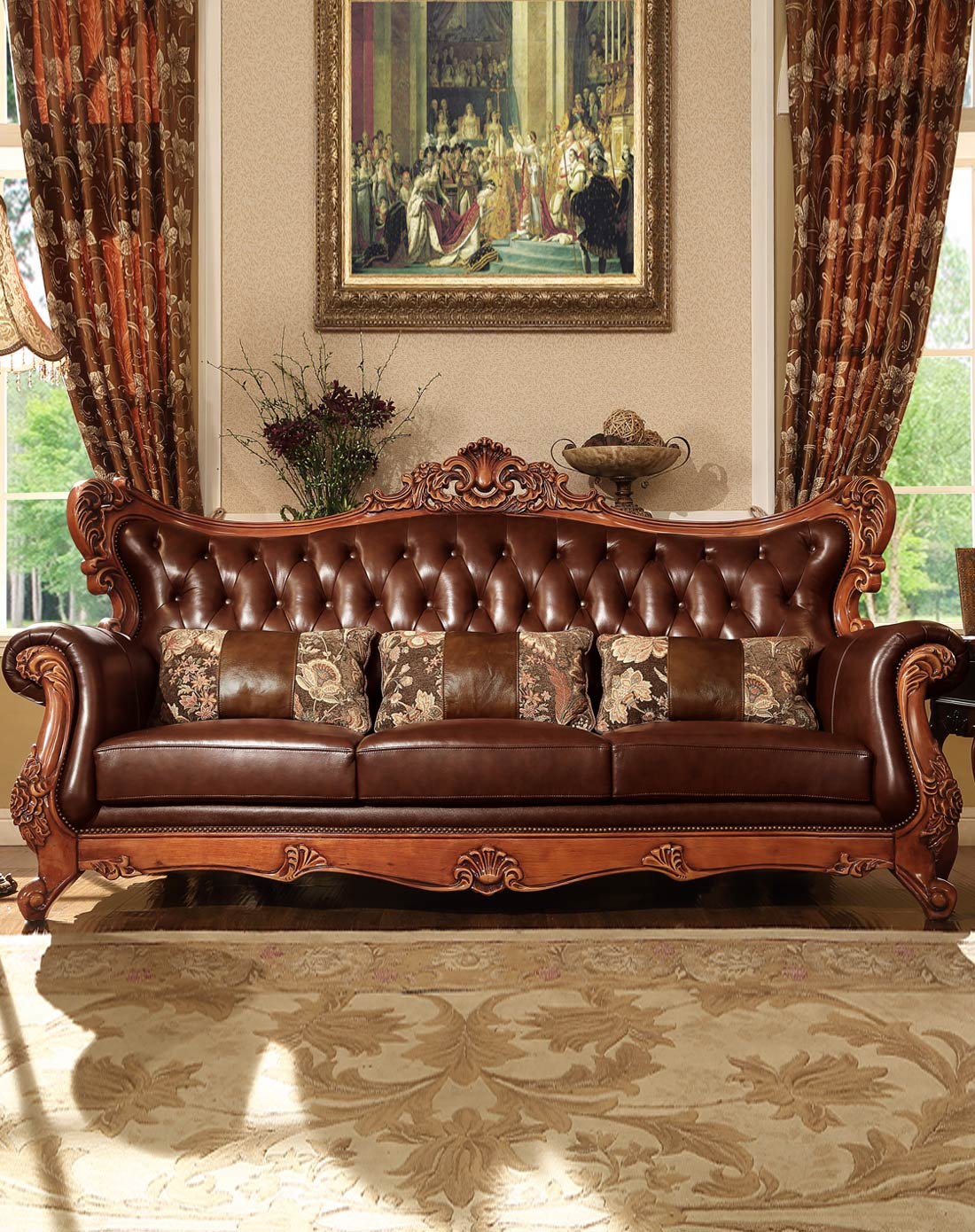 > 美式全实木雕花真皮沙发组合图片
