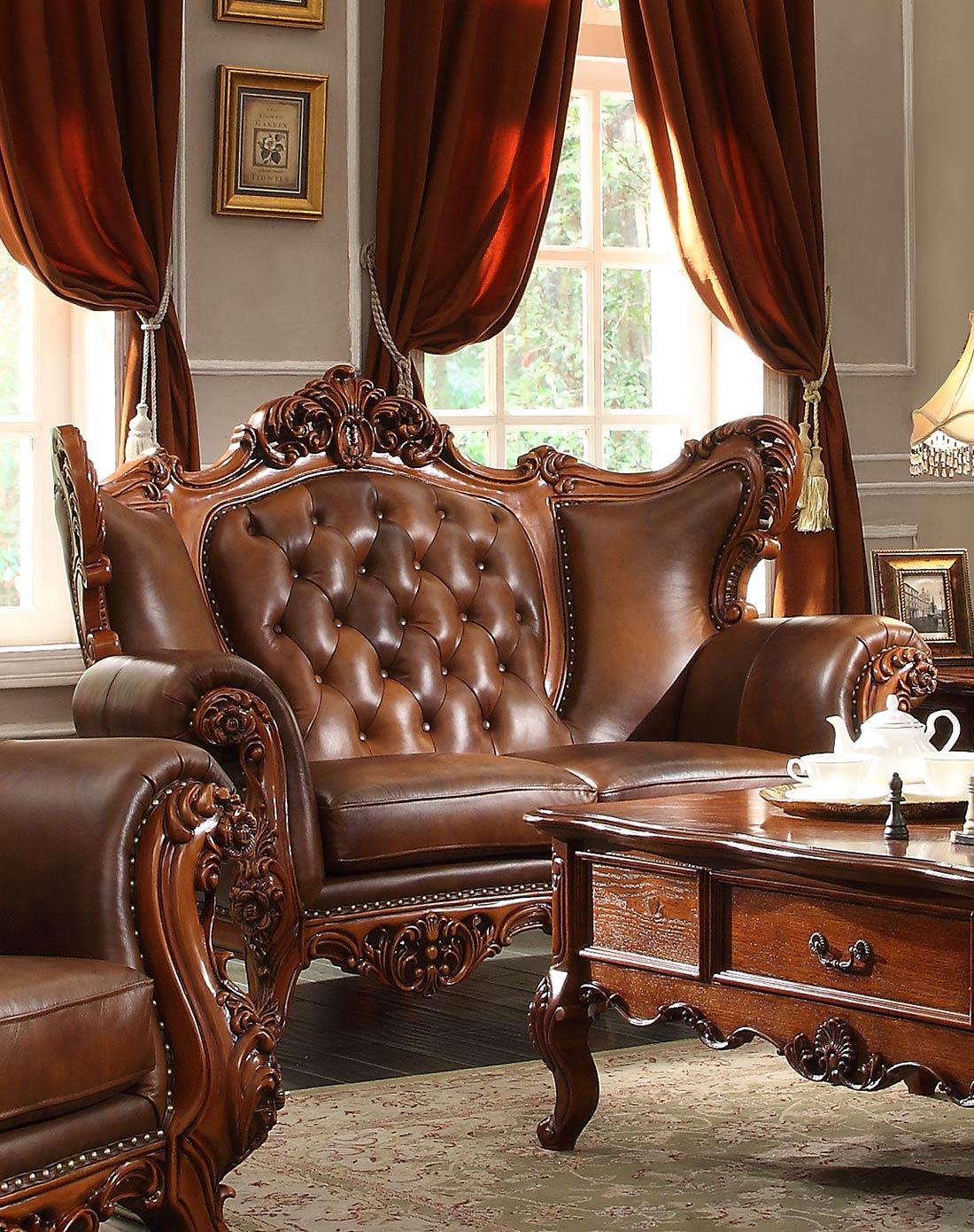 美式实木雕花复古沙发 双人位图片