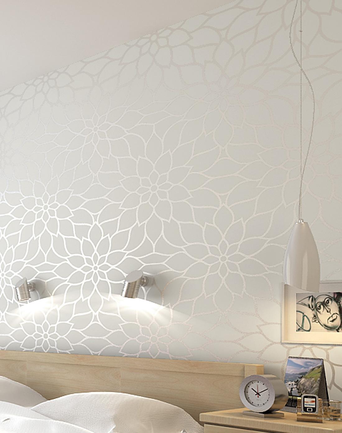 现代简约抽象优雅大花型墙纸