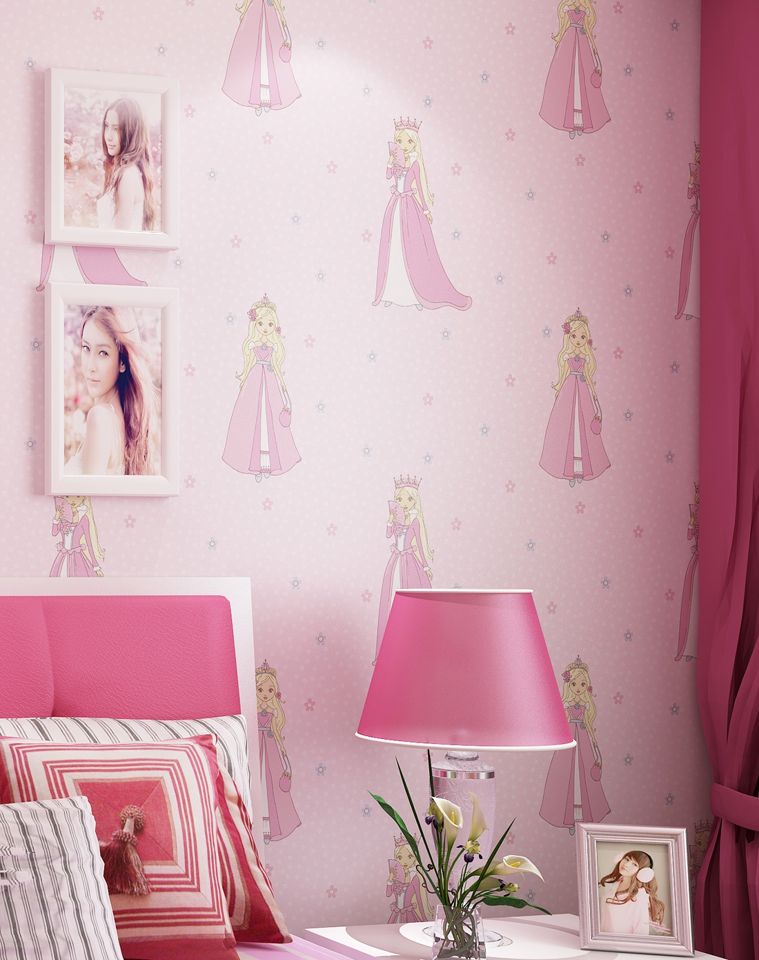 儿童房卡通小公主无纺布墙纸