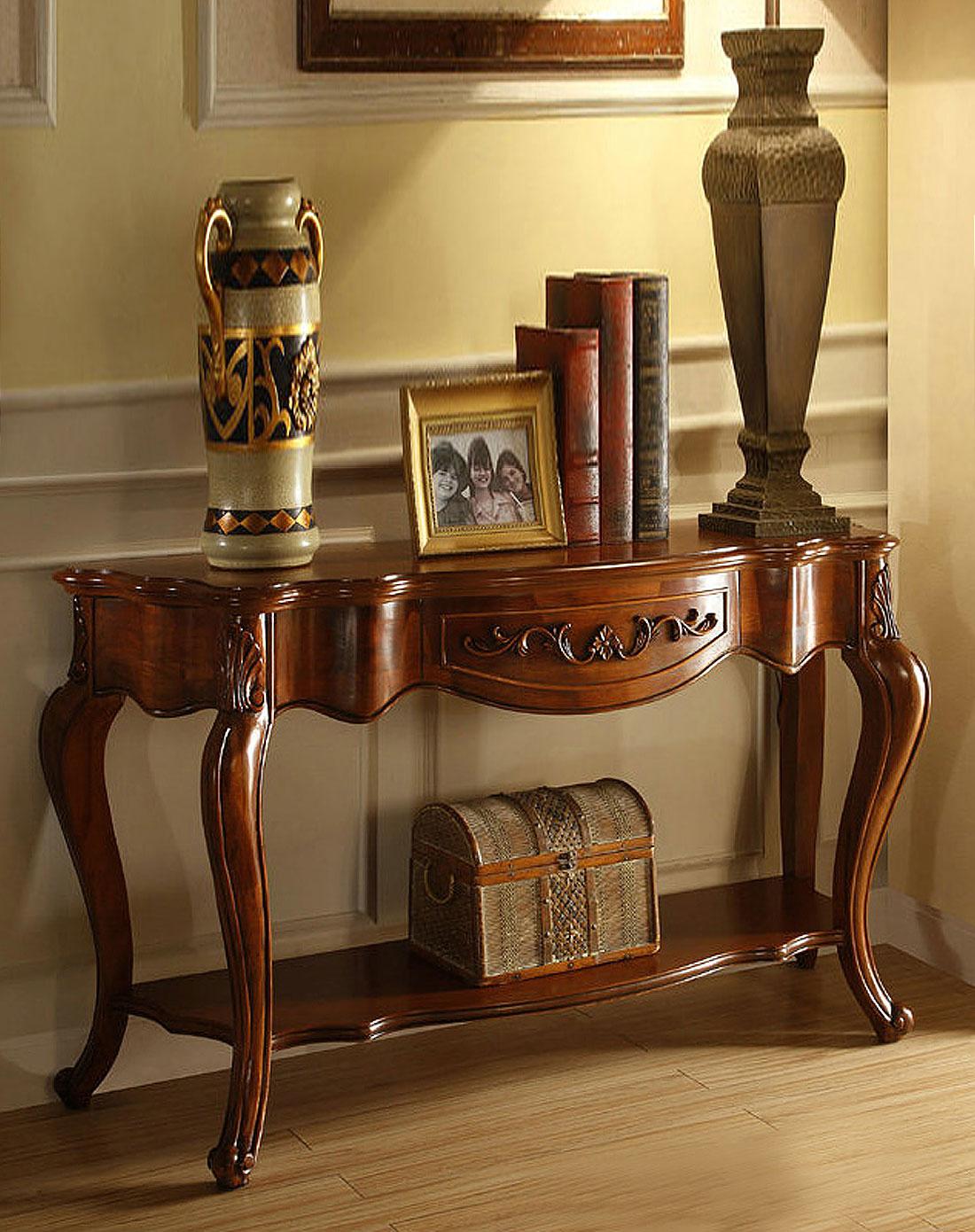 美式乡村雕花实木玄关桌