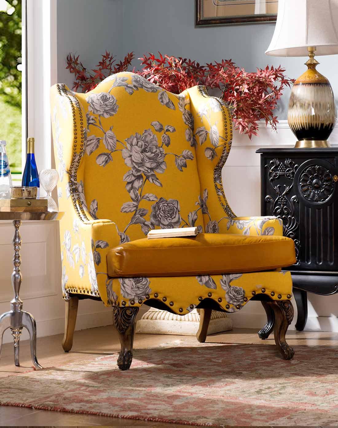 进口头层牛皮黄色布艺单人沙发椅