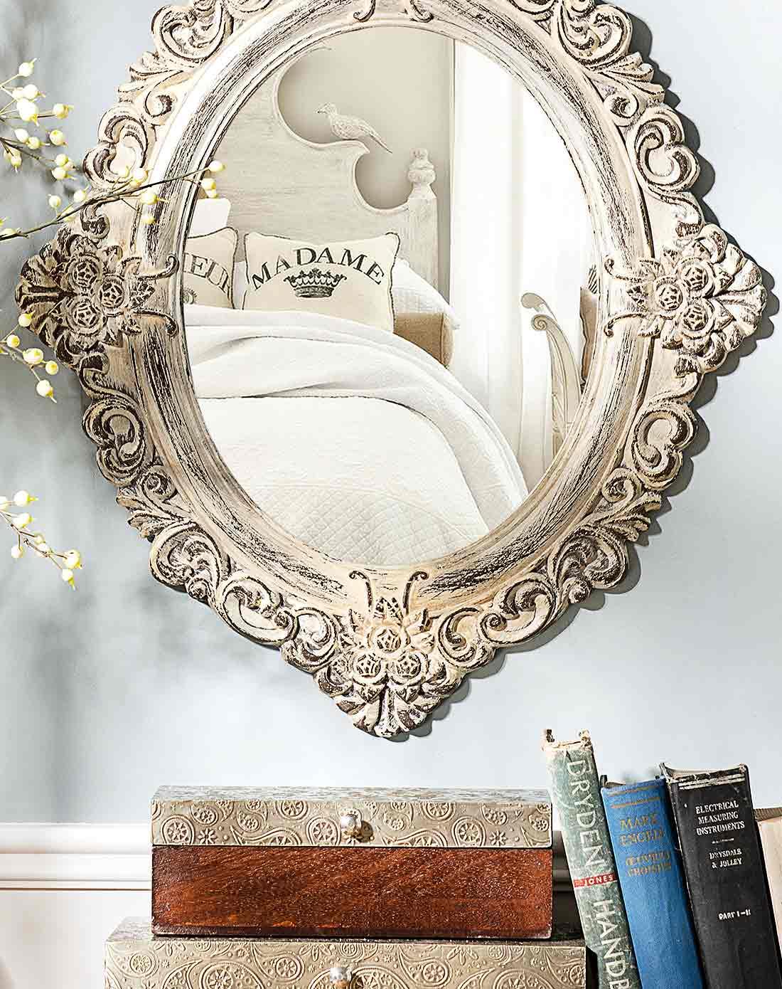 卡塞雕花墙面镜子 a款 复古米白色图片