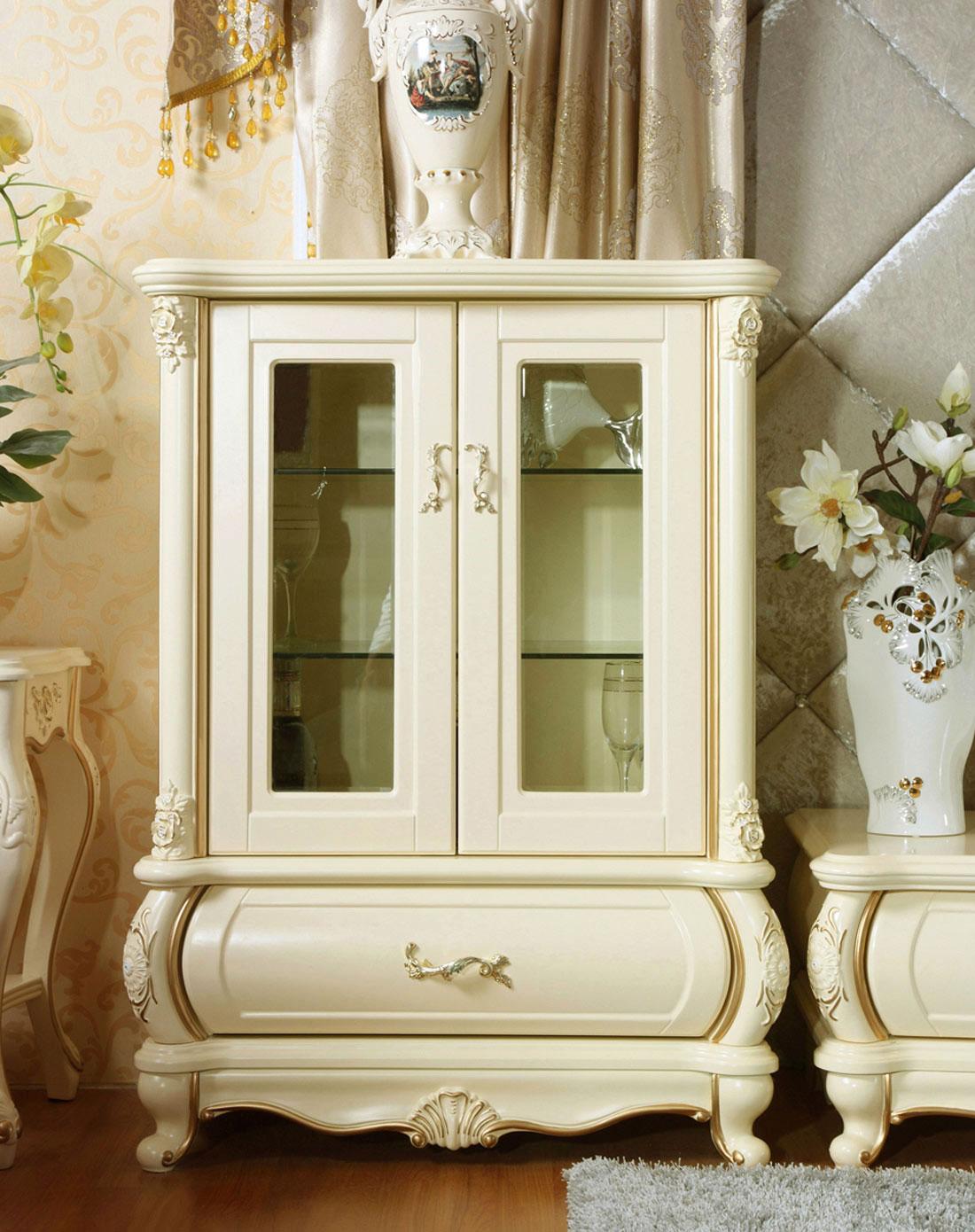 欧式古典装饰柜左柜 米黄描金