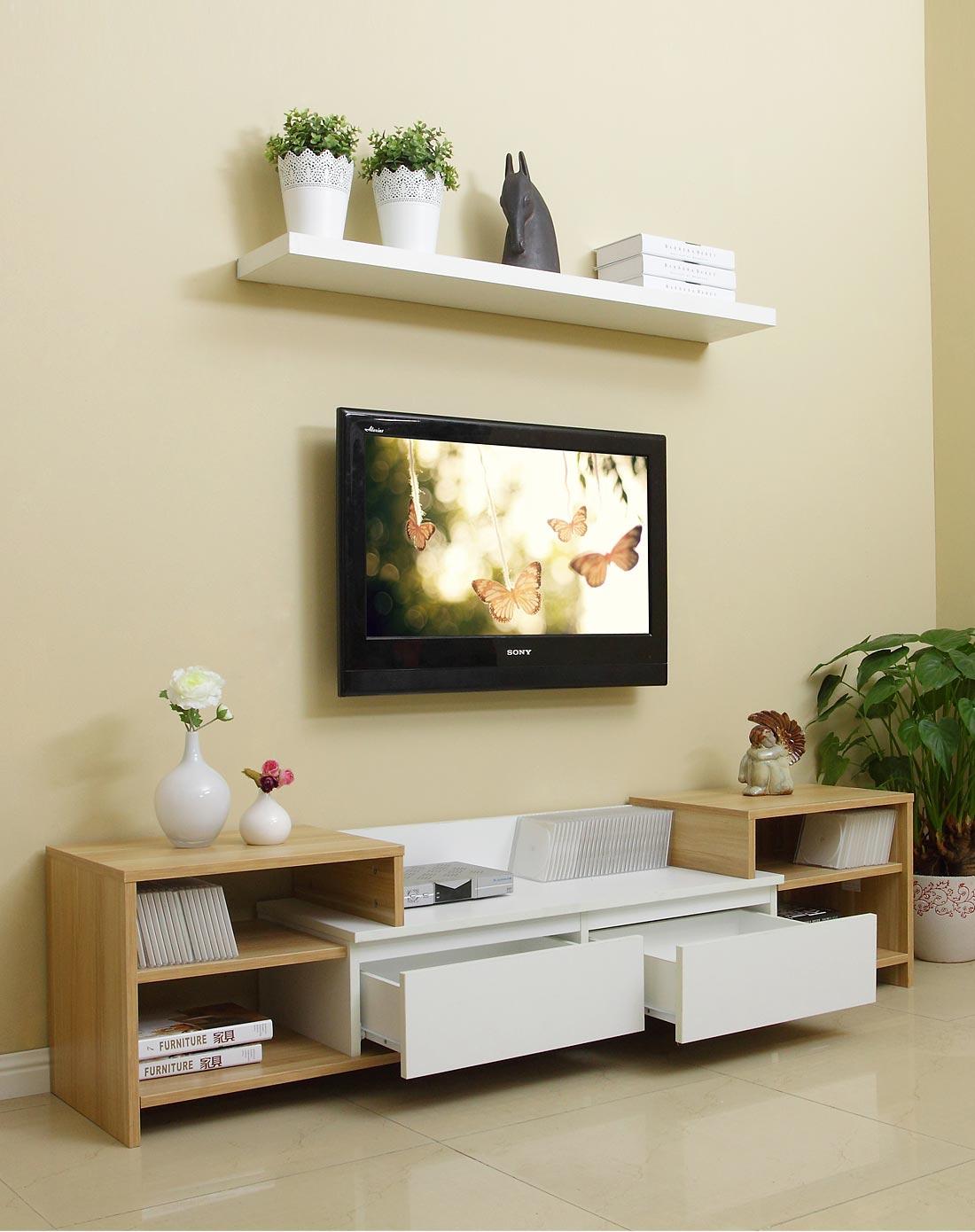 利奥电视柜c180胡桃木+白色