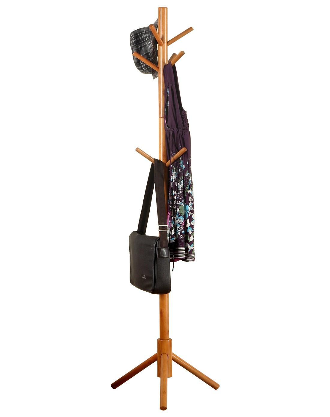 实木落地衣帽架 创意多挂钩晾衣架图片