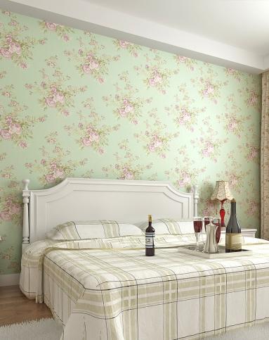 纸尚美学墙纸专场浅绿色欧式田园浪漫高级无纺布墙纸