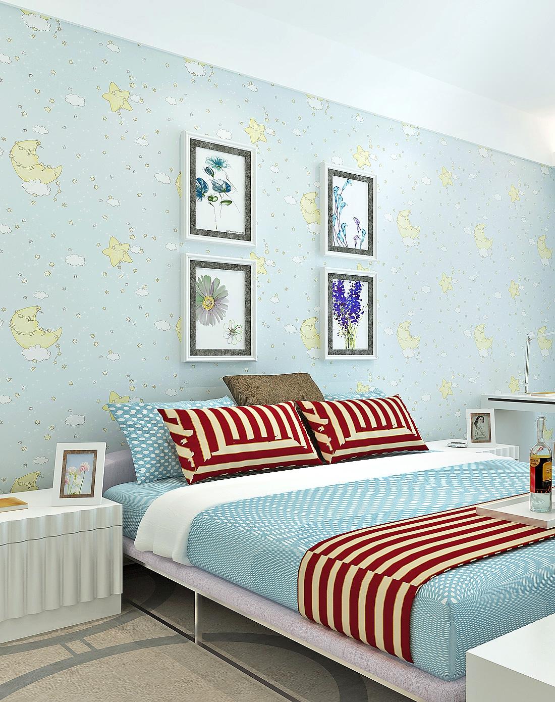 纸尚美学墙纸专场淡蓝色卡通梦幻星星月亮无纺布墙纸