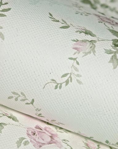 奶白色田园清新小碎花无纺布墙纸