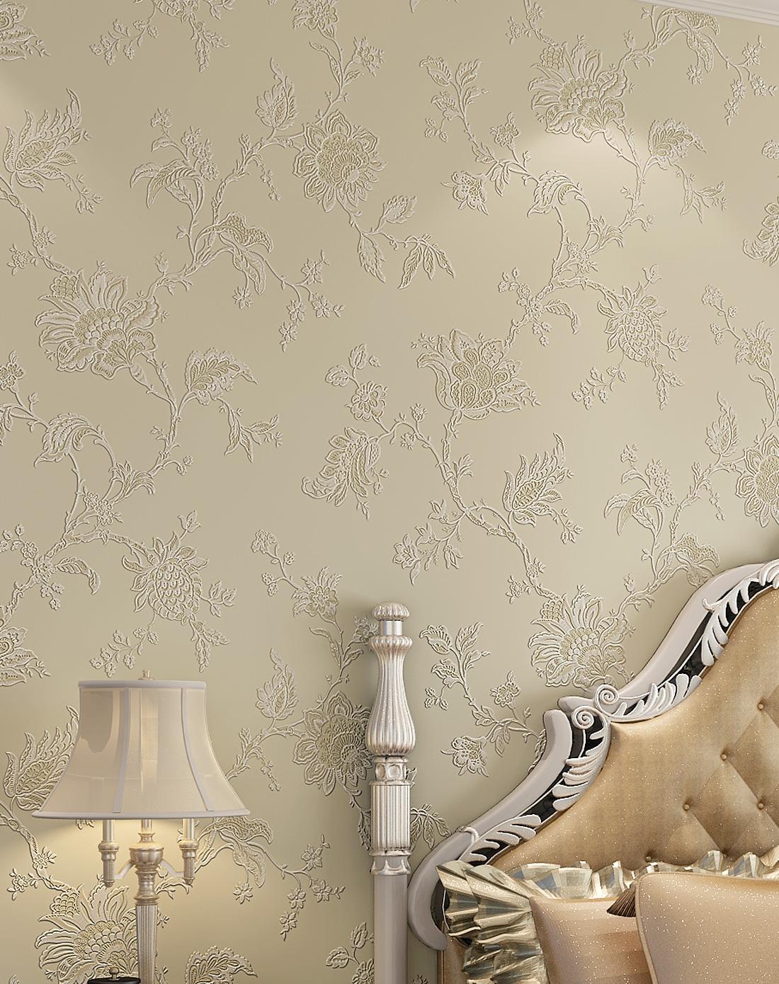 纸尚美学墙纸专场米色3d浮雕欧式简约风格立体壁纸图片