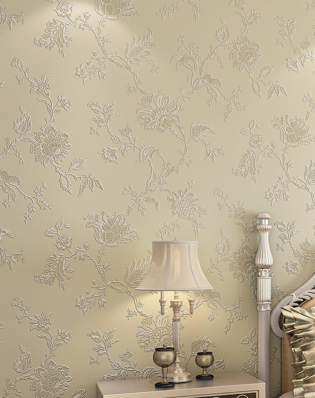纸尚美学墙纸专场米色3d浮雕欧式简约风格立体壁纸