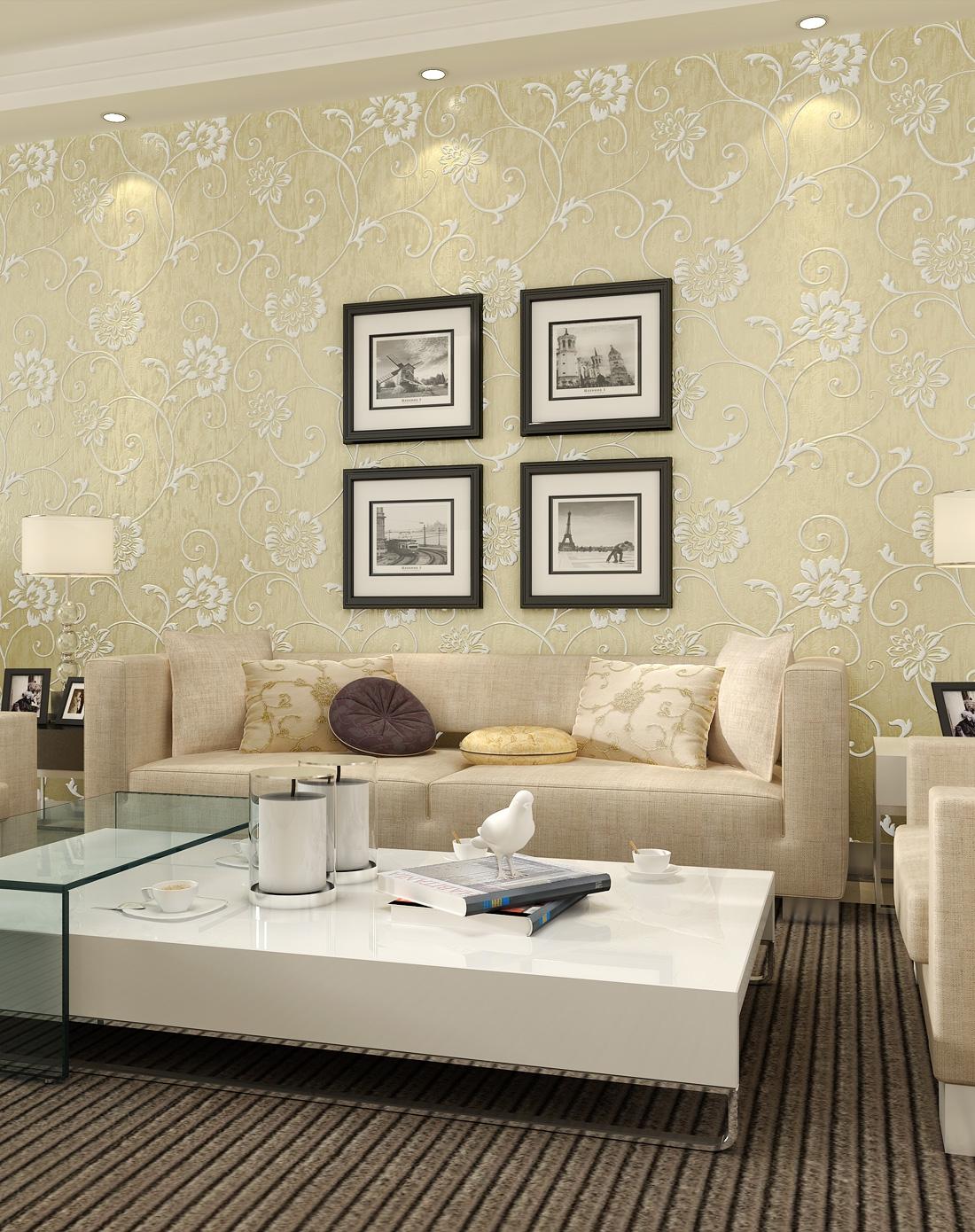 纸尚美学墙纸专场 > 米黄色立体浮雕3d欧式简约风格壁纸