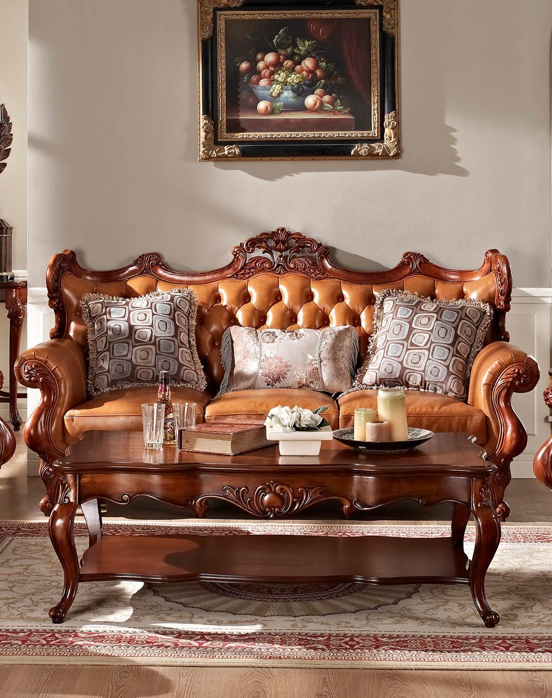 美式实木雕花真皮沙发 组合图片