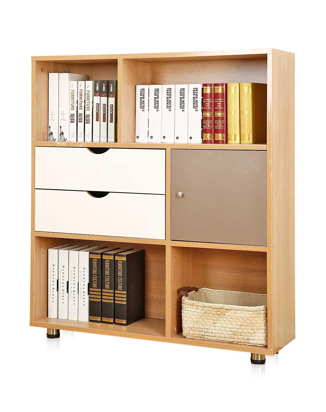 新滢铁艺原木色简易书柜自由组合儿童书桌xyjmbsn006