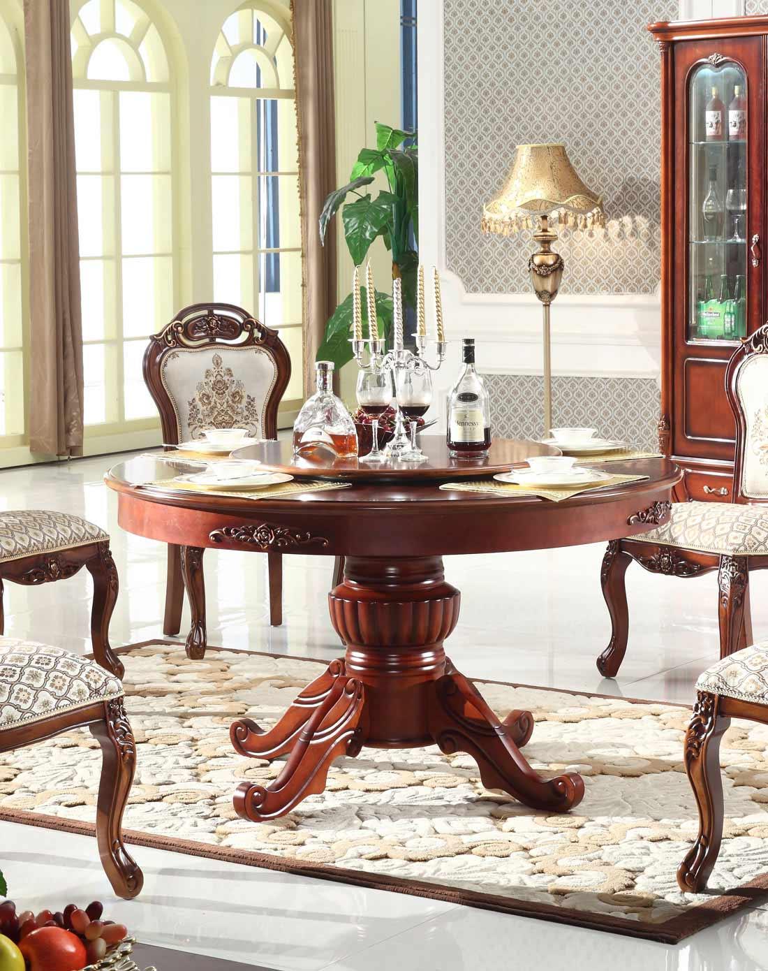 欧式古典全实木圆餐桌