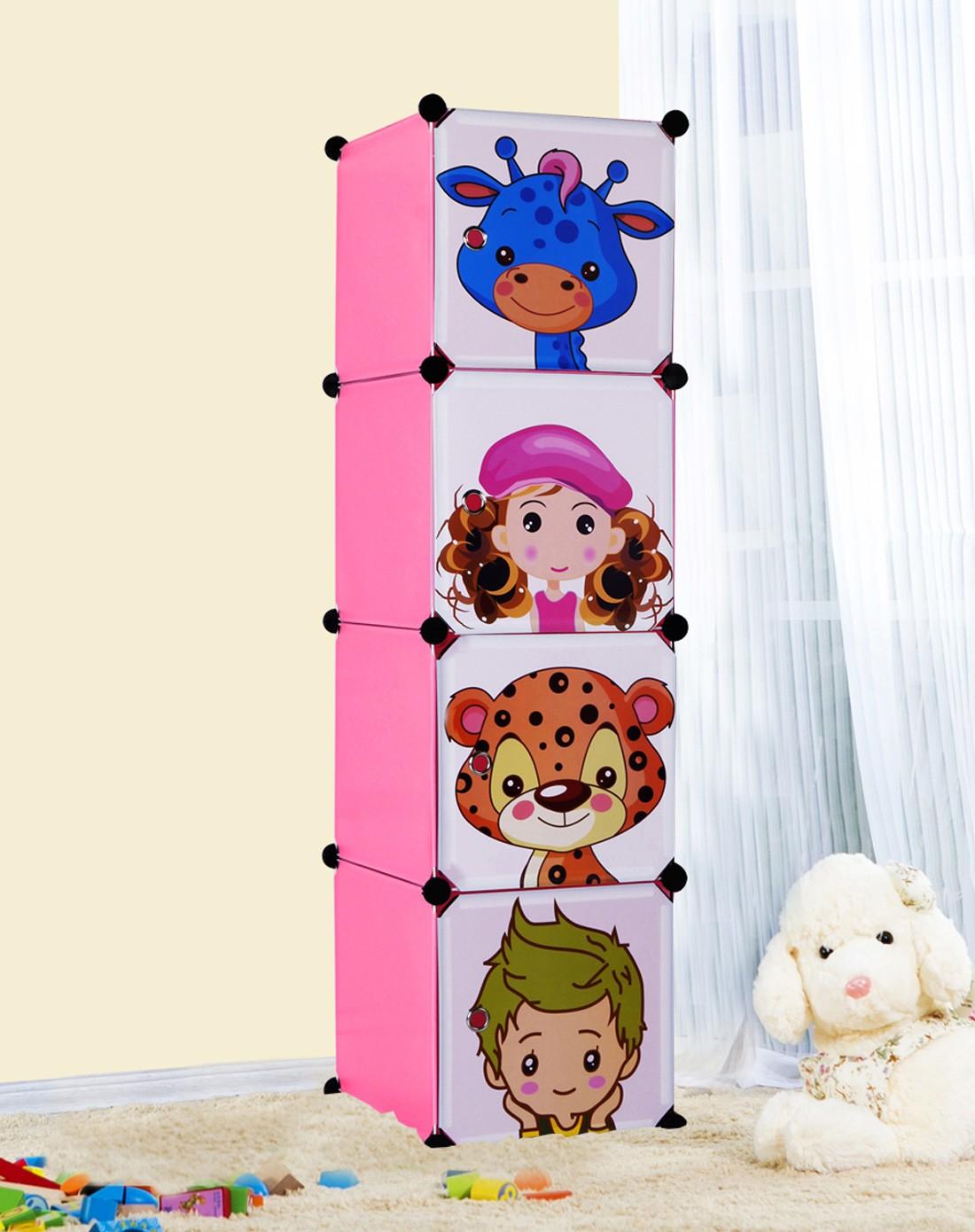 安尔雅家具专场简约环保卡通儿童婴儿衣物收纳柜3色p