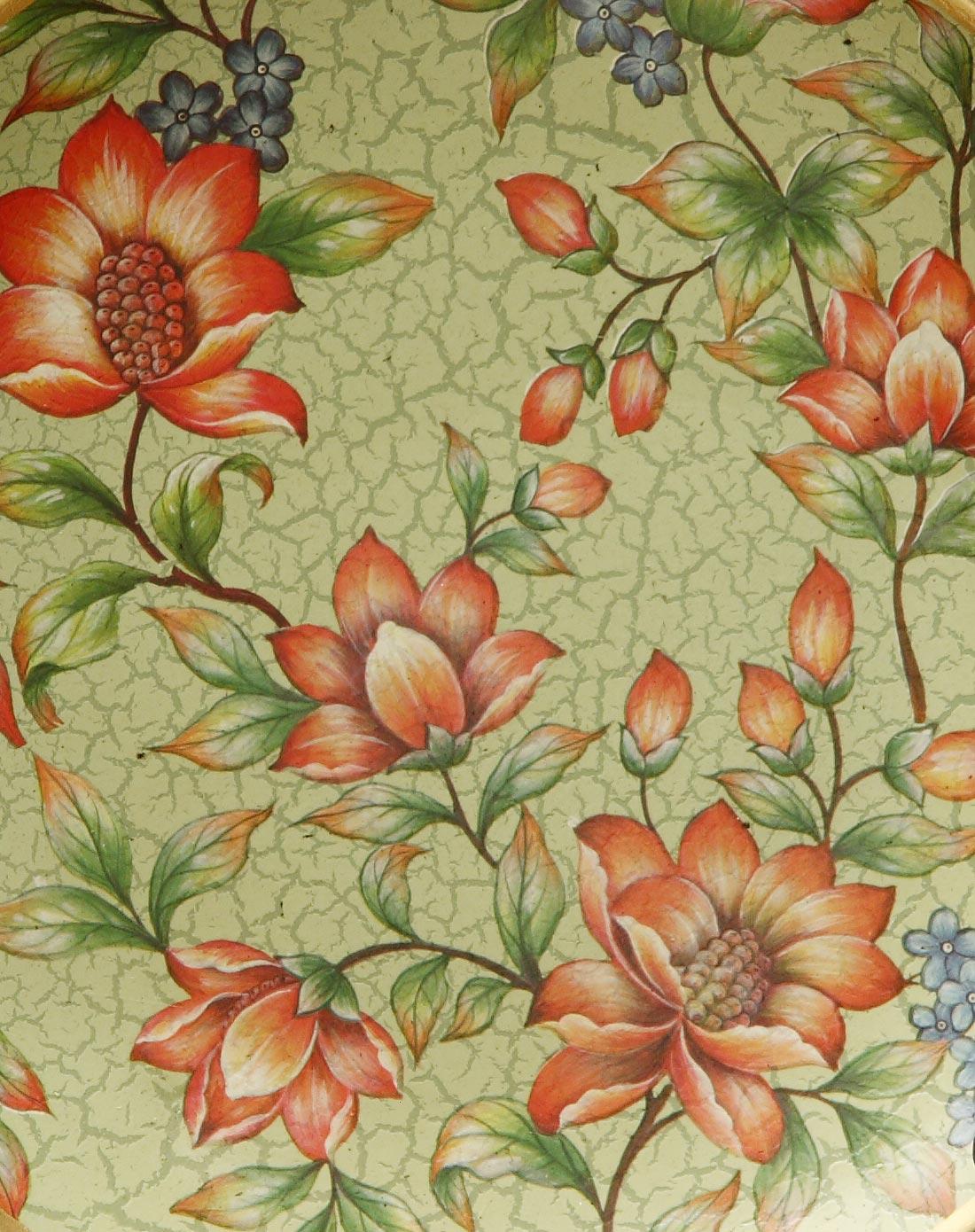 复古花卉图案手绘陶瓷盘子装饰盘摆盘
