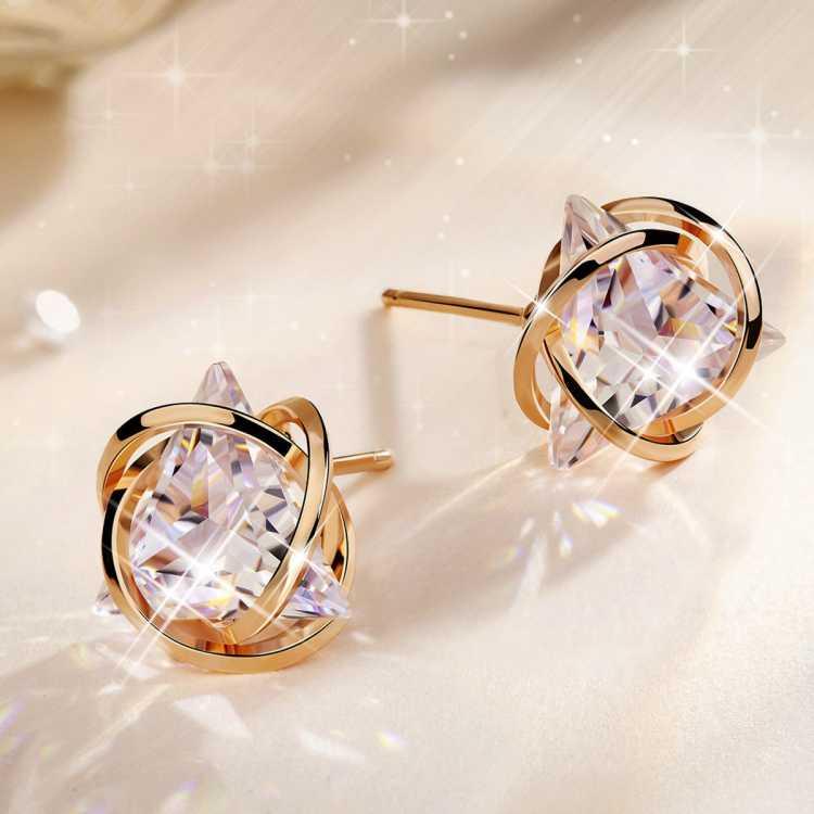 玫瑰花园925纯银耳钉女耳坠女玫瑰金耳环耳饰女气质高级感饰品