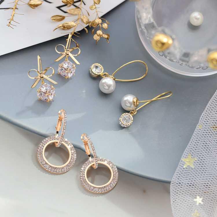 奇美拉【3件套耳环】520礼物高光珠水钻圈圈银针耳饰送女友