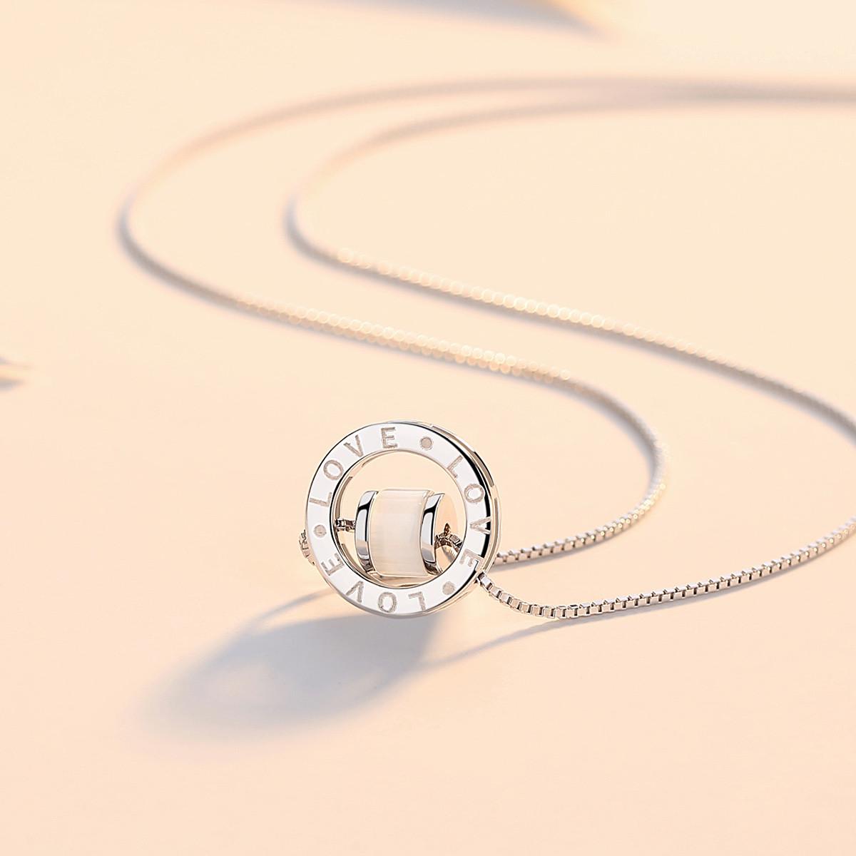 7度纯银项链时尚玉髓配饰吊坠925银饰品女士锁骨链颈链