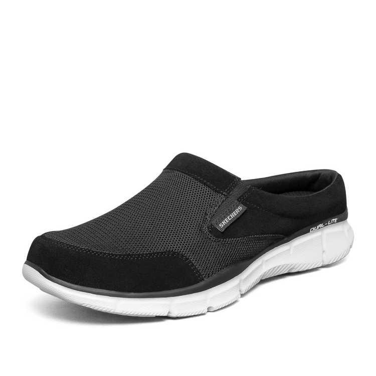 斯凯奇男鞋子透气网布鞋一脚蹬懒人鞋低帮踩跟运动休闲鞋男夏